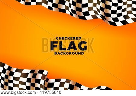 3d Checkered Racing Flag Yellow Background Vector Template Design