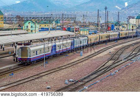 A Large Railway Station On The Trans-siberian Railway. Industrial Landscape. Railway Junction. Railw