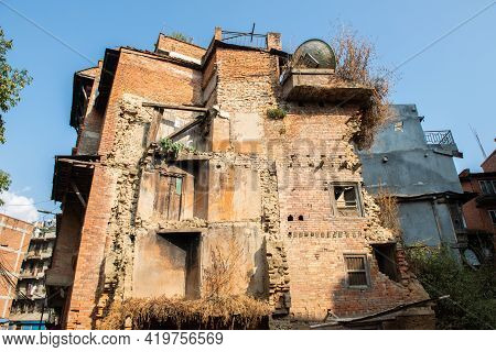 The Old Remaining Buildings From Big Earthquake In Kathmandu The Capital Cities Of Nepal. A Magnitud