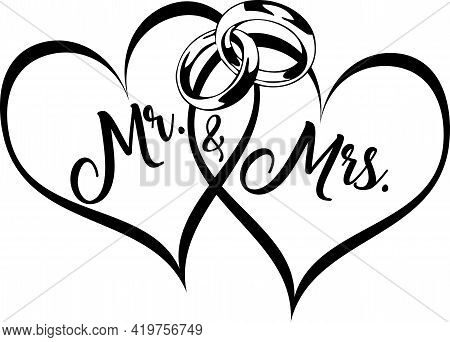 Mr And Mrs Wedding Clip Art With Hearts And Rings