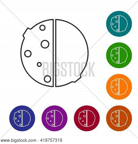 Black Line Eclipse Of The Sun Icon Isolated On White Background. Total Sonar Eclipse. Set Icons In C