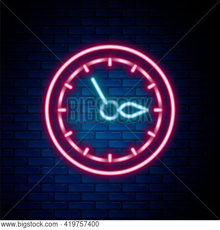 Glowing Neon Line Sauna Clock Icon Isolated On Brick Wall Background. Sauna Timer. Colorful Outline