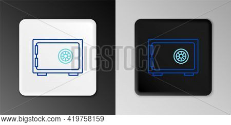 Line Safe Icon Isolated On Grey Background. The Door Safe A Bank Vault With A Combination Lock. Reli