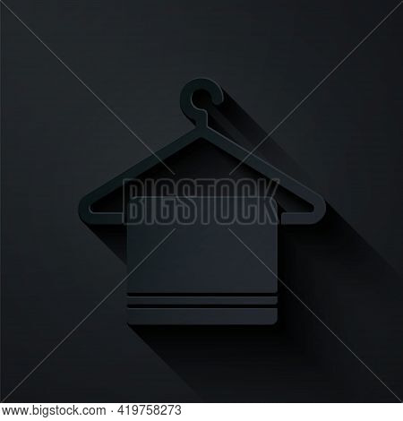 Paper Cut Towel On A Hanger Icon Isolated On Black Background. Bathroom Towel Icon. Paper Art Style.