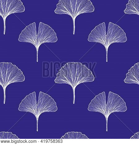 Seamless Pattern With Leaves. Ginkgo Biloba Leaves Background. Hand Drawn White Vector Illustration