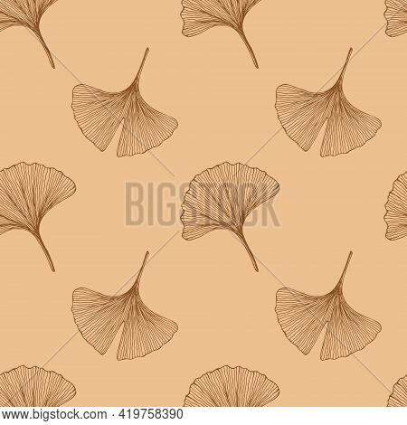 Seamless Pattern With Leaves. Ginkgo Biloba Leaves Background. Hand Drawn Brown Vector Illustration