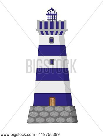 Lighthouse. Stripped Blue And White Lighthouse On White Background. Isolated Vector Illustration.