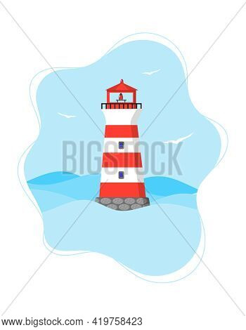 Red Stripped Lighthouse. Vertical Banner Template With Seascape And Lighthouse. Light House In The S