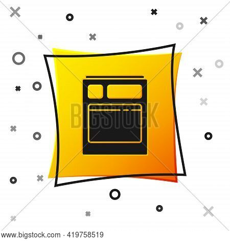 Black Kitchen Dishwasher Machine Icon Isolated On White Background. Yellow Square Button. Vector Ill