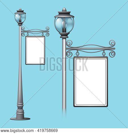 Advertising Billboard On Old Style Street Lamppost Isolated Vector Illustration