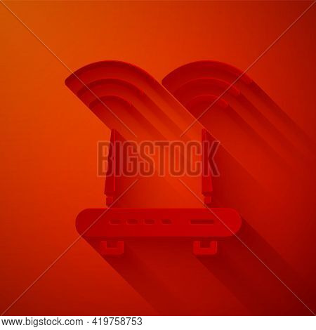 Paper Cut Router And Wi-fi Signal Icon Isolated On Red Background. Wireless Ethernet Modem Router. C