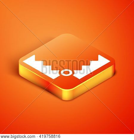 Isometric Trap Hunting Icon Isolated On Orange Background. Vector