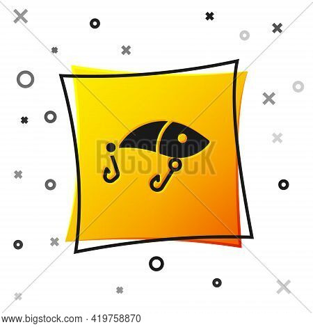 Black Fishing Lure Icon Isolated On White Background. Fishing Tackle. Yellow Square Button. Vector