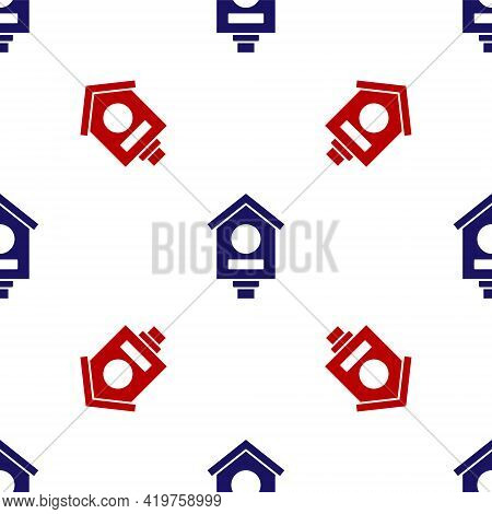 Blue And Red Bird House Icon Isolated Seamless Pattern On White Background. Nesting Box Birdhouse, H