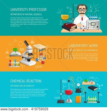 Science Banner Horizontal Set With University Professor And Laboratory Work Realistic Elements Isola