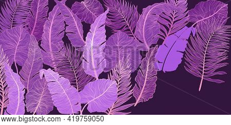Horizontal Background With Exotics Golden Palms And Banana Leaves. Hand Drawn Luxury Golden Tropical
