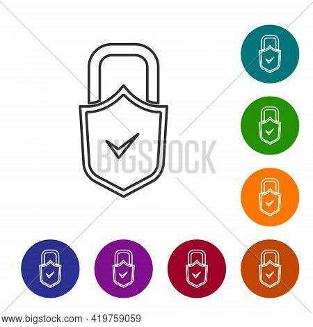 Black Line Open Padlock And Check Mark Icon Isolated On White Background. Cyber Security Concept. Di