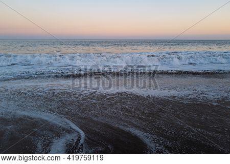 Ocean Beach Background. Ocean Waves. Ocean Water Surface. Seascape Background.