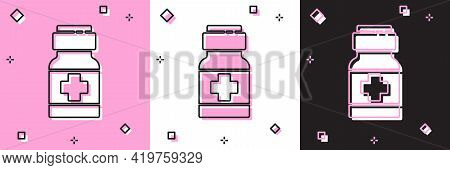 Set Medicine Bottle And Pills Icon Isolated On Pink And White, Black Background. Medical Drug Packag