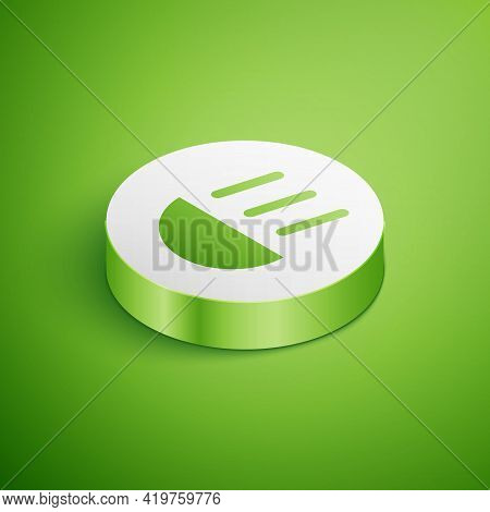 Isometric High Beam Icon Isolated On Green Background. Car Headlight. White Circle Button. Vector