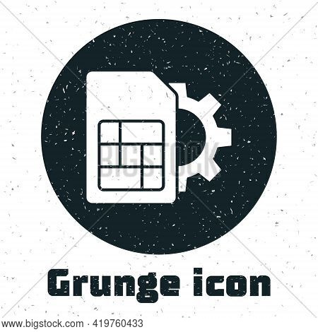Grunge Sim Card Setting Icon Isolated On White Background. Mobile Cellular Phone Sim Card Chip. Mobi
