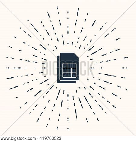 Grey Sim Card Icon Isolated On Beige Background. Mobile Cellular Phone Sim Card Chip. Mobile Telecom
