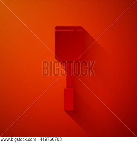 Paper Cut Spatula Icon Isolated On Red Background. Kitchen Spatula Icon. Bbq Spatula Sign. Barbecue