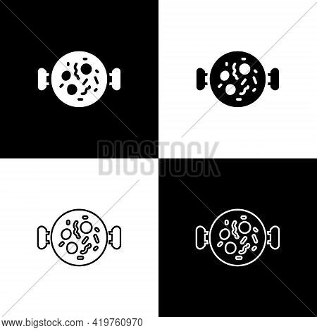 Set Chicken Tikka Masala Icon Isolated On Black And White Background. Indian Traditional Food. Vecto