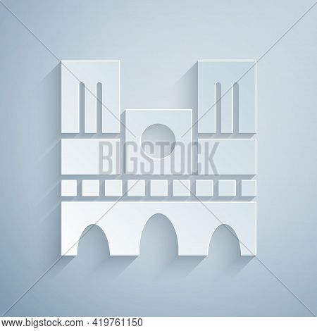 Paper Cut Landmark Of France Notre Dame De Paris Icon Isolated On Grey Background. Paper Art Style.