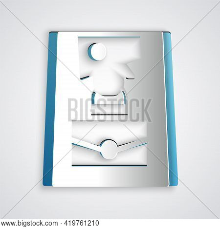 Paper Cut Handbag Icon Isolated On Grey Background. Female Handbag Sign. Glamour Casual Baggage Symb