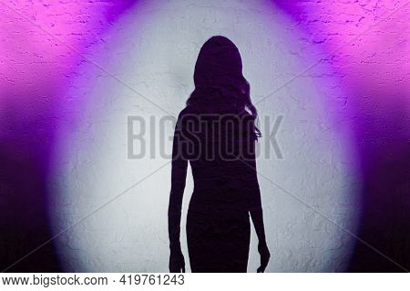 Shade Of Beautiful Elegant Woman Posing In Spotlight During Fashion Show, Home Party Show