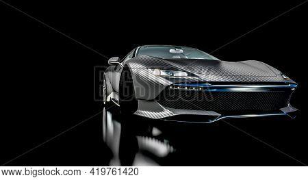 black carbon fiber sports car. concept of sport and luxury. 3d render.