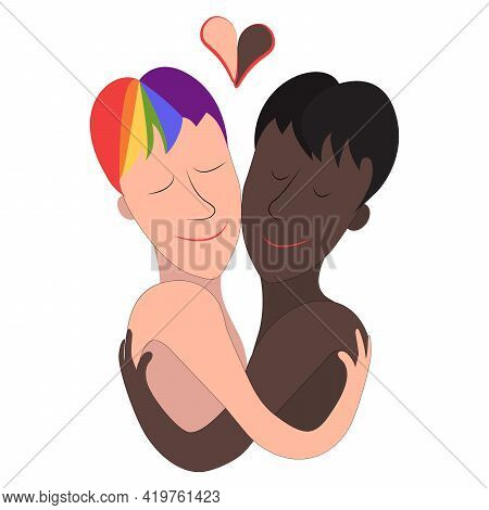 Two Gay Men, Black And White. Lgbt Couple And Portrait Of Cute Young People Hugging Each Other. Coup