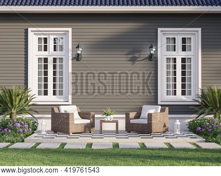 Outdoor Terrace With Empty Gray Plank Wall Background 3d Render,decorated With Wicker Chairs In Fron