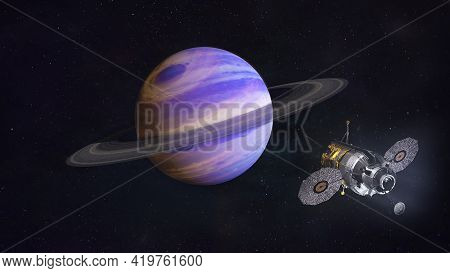 Mission To Saturn Planet. Spaceship In Space Near The Saturn. Elements Of This Image Furnished By Na