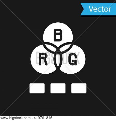 White Rgb Color Mixing Icon Isolated On Black Background. Vector