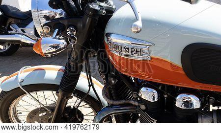 Bordeaux , Aquitaine France - 05 04 2021 : Triumph Bonneville Brand Logo And Text Sign On Fuel Tank