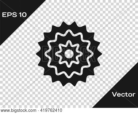Black Bicycle Cassette Mountain Bike Icon Isolated On Transparent Background. Rear Bicycle Sprocket.