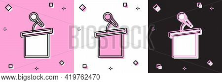Set Stage Stand Or Debate Podium Rostrum Icon Isolated On Pink And White, Black Background. Conferen