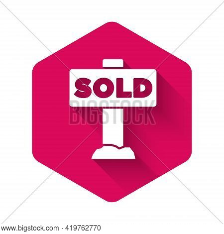 White Hanging Sign With Text Sold Icon Isolated With Long Shadow Background. Sold Sticker. Sold Sign