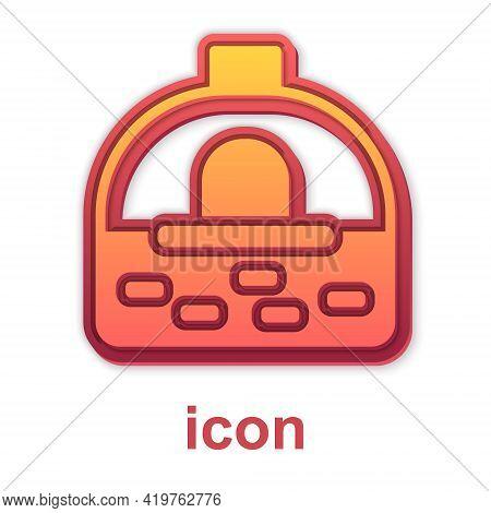 Gold Brick Stove Icon Isolated On White Background. Brick Fireplace, Masonry Stove, Stone Oven Icon.