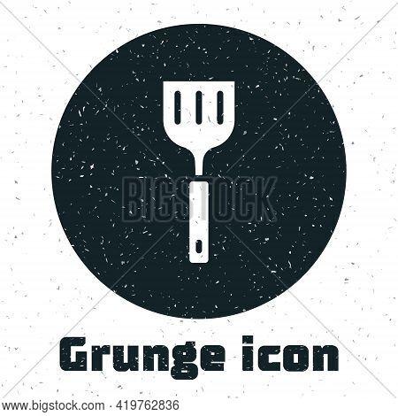 Grunge Spatula Icon Isolated On White Background. Kitchen Spatula Icon. Bbq Spatula Sign. Barbecue A