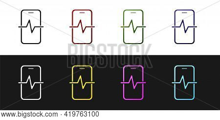 Set Phone Repair Service Icon Isolated On Black And White Background. Adjusting, Service, Setting, M