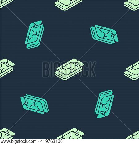 Green And Beige Smartphone With Broken Screen Icon Isolated Seamless Pattern On Blue Background. Sha