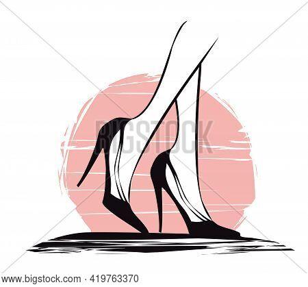 Beautiful Black High Heels -  Banner , Vector Illustration