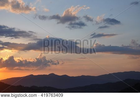 High Resolution Beautiful View Of Colorful Clouds And Sky During Sunset Of Hilly Area, Sunset Of Sum