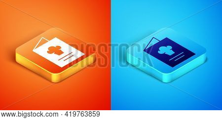 Isometric Cookbook Icon Isolated On Orange And Blue Background. Cooking Book Icon. Recipe Book. Fork
