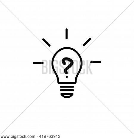 Black Bulb With Question And Rays. Flat Icon. Isolated On White Background. Faq Icon. New Business I