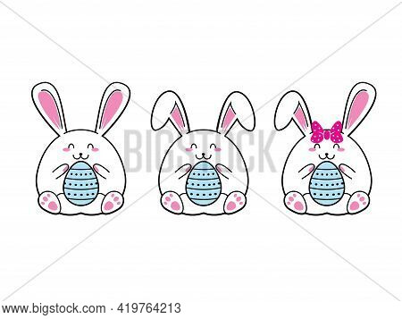 White Cute Easter Rabbit. Easter Bunny. Happy Easter Bunny Vector Illustration.