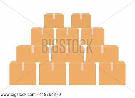 Cardboard Boxes. Carton Parcels And Delivery Packages Pile, Flat Warehouse Goods And Cargo Transport
